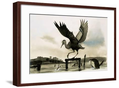 An Otter Watches a Heron--Framed Art Print