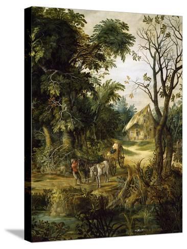 Landscape with Peasants-Kerinex Alexander-Stretched Canvas Print
