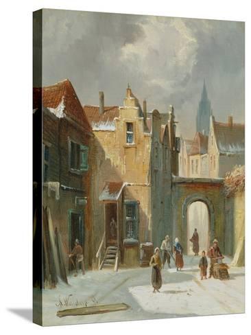 Winter Street Scene-Anthonie Waldorp-Stretched Canvas Print