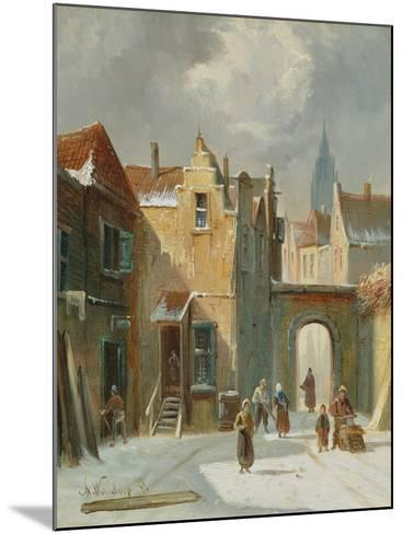 Winter Street Scene-Anthonie Waldorp-Mounted Giclee Print