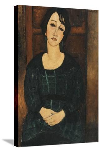 Woman in a Plaid Dress, 1916-Amedeo Modigliani-Stretched Canvas Print