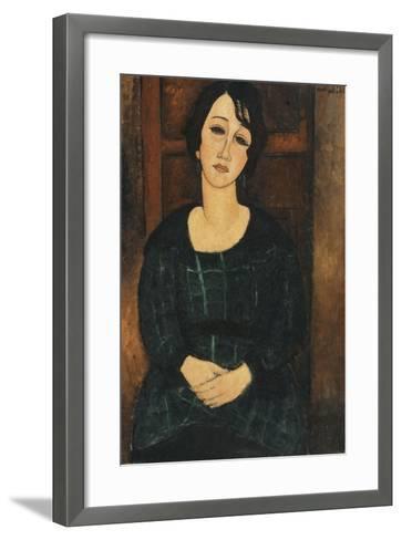 Woman in a Plaid Dress, 1916-Amedeo Modigliani-Framed Art Print