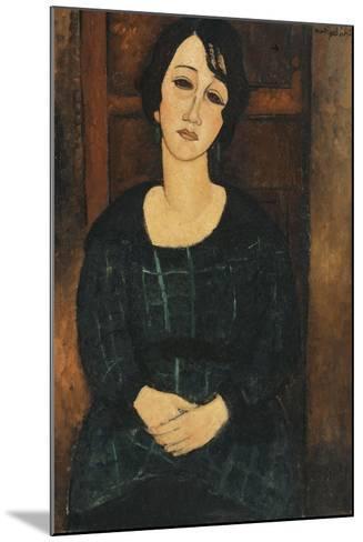 Woman in a Plaid Dress, 1916-Amedeo Modigliani-Mounted Giclee Print