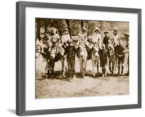 Children Donkey Riding on Hampstead Heath--Framed Art Print