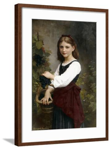 A Young Girl Holding a Basket of Grapes-Elizabeth Jane Gardner Bouguereau-Framed Art Print