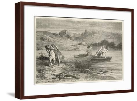 Pecheurs a L'Epoque De La Pierre Polie-Emile Antoine Bayard-Framed Art Print
