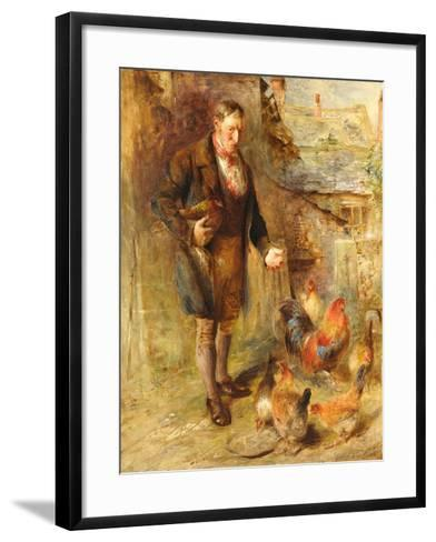 Self Portrait Aged 38 with Chickens-William Huggins-Framed Art Print
