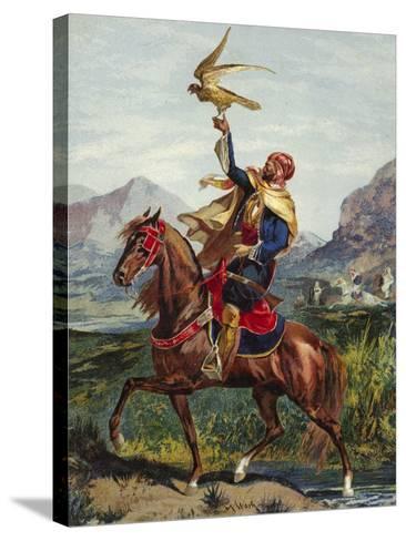 Arab Horseman, with Hawk--Stretched Canvas Print