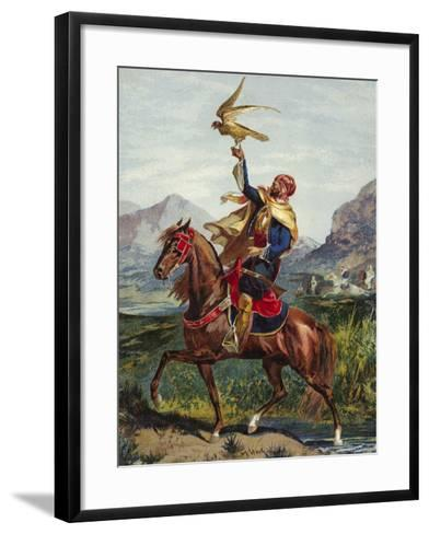 Arab Horseman, with Hawk--Framed Art Print