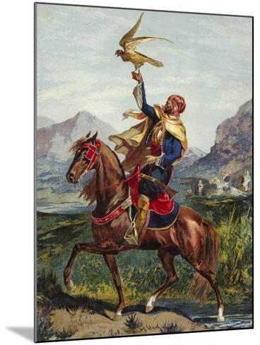 Arab Horseman, with Hawk--Mounted Giclee Print