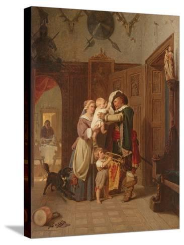 The Cavalier's Return, 1855-August Friedrich Siegert-Stretched Canvas Print