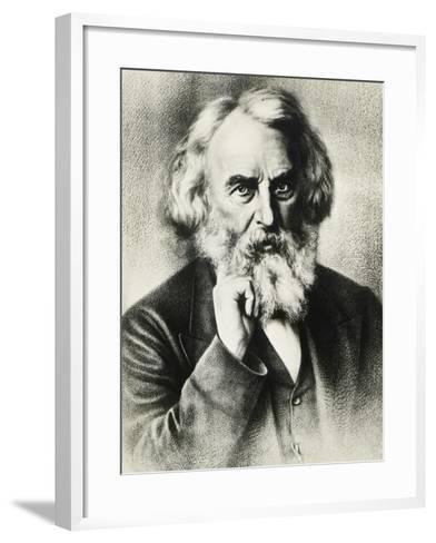 Portrait of Henry Wadsworth Longfellow--Framed Art Print