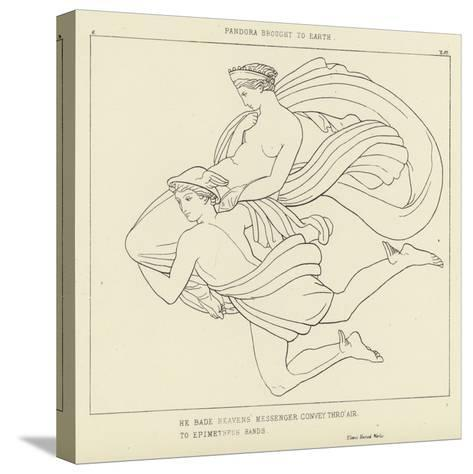 Pandora Brought to Earth-John Flaxman-Stretched Canvas Print