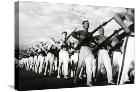 Parade of the Young Communists, Moscow--Stretched Canvas Print