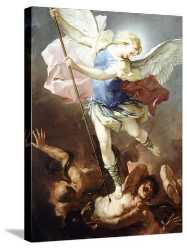St Michael Defeats Demon-Luca Giordano-Stretched Canvas Print