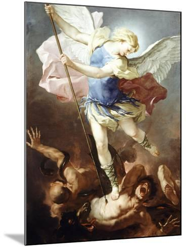 St Michael Defeats Demon-Luca Giordano-Mounted Giclee Print