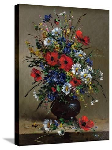 Poppies and Daisies-Eugene Henri Cauchois-Stretched Canvas Print