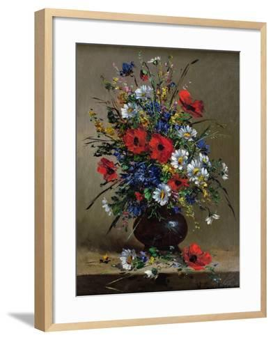 Poppies and Daisies-Eugene Henri Cauchois-Framed Art Print