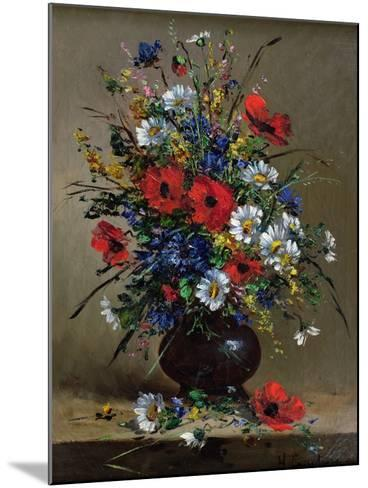 Poppies and Daisies-Eugene Henri Cauchois-Mounted Giclee Print