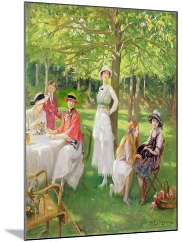 Tea in the Garden-Jules Cayron-Mounted Giclee Print