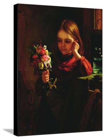 Girl with Flowers-John Davidson-Stretched Canvas Print