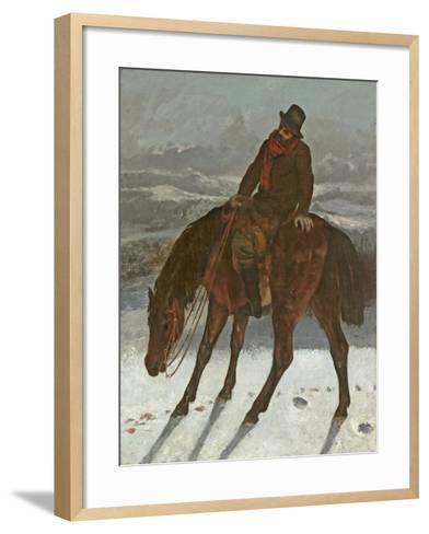 Hunter on Horseback, C.1864-Gustave Courbet-Framed Art Print