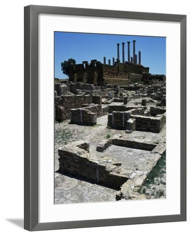 Neighborhood of Homes and Capitol Behind It--Framed Art Print