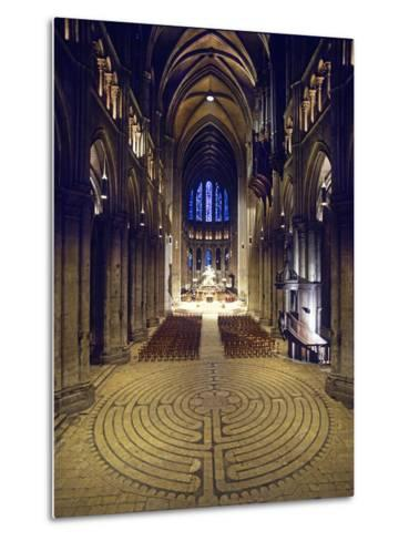 Labyrinth, Chartres Cathedral, France--Metal Print