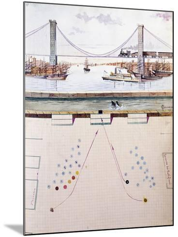 Suez, Scene with Steamships, Set Design--Mounted Giclee Print