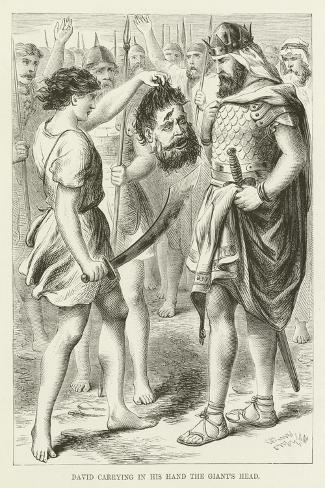 David Carrying in His Hand the Giant's Head--Stretched Canvas Print