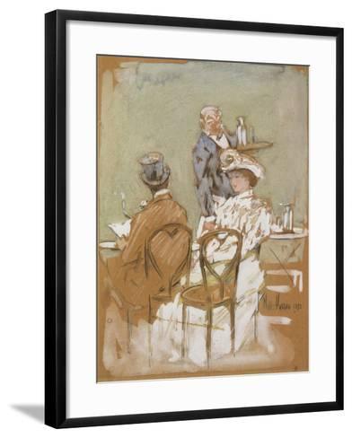Outside the Cafe on the Grand Boulevard, 1898-Childe Hassam-Framed Art Print