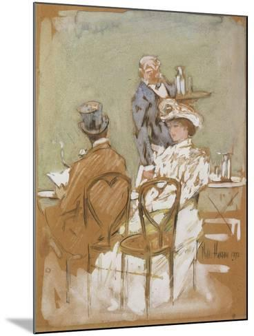 Outside the Cafe on the Grand Boulevard, 1898-Childe Hassam-Mounted Giclee Print