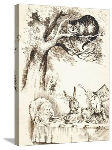 Scene from the Mad Hatter's Tea Party, C.1865-John Tenniel-Stretched Canvas Print