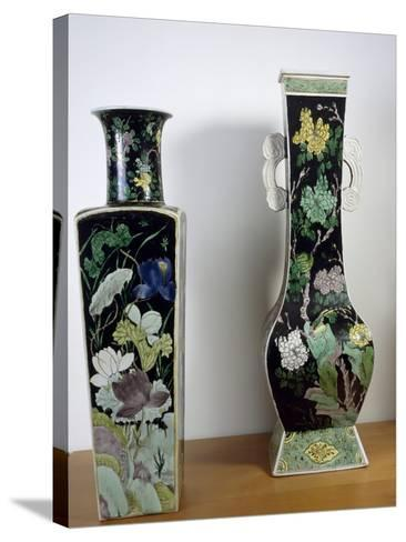 Vases Decorated with Flowers, Famille Noir--Stretched Canvas Print