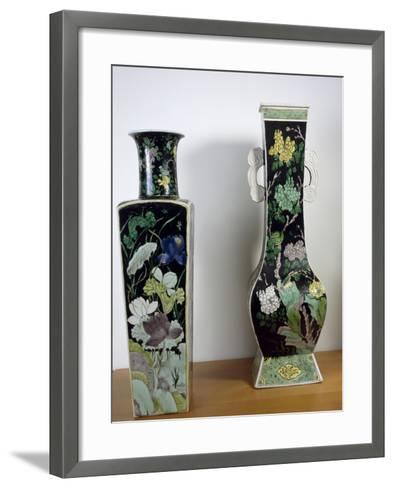Vases Decorated with Flowers, Famille Noir--Framed Art Print