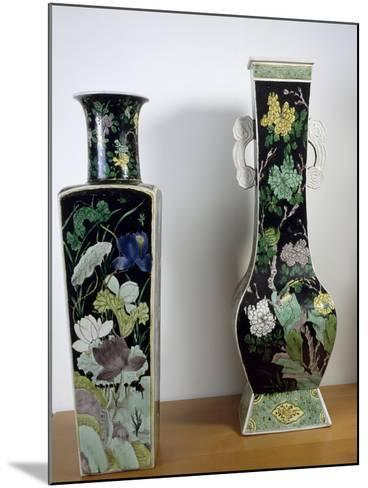 Vases Decorated with Flowers, Famille Noir--Mounted Giclee Print
