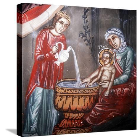 Nativity, Detail of the Bathing of Jesus-Symeon Axenti-Stretched Canvas Print