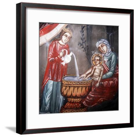 Nativity, Detail of the Bathing of Jesus-Symeon Axenti-Framed Art Print