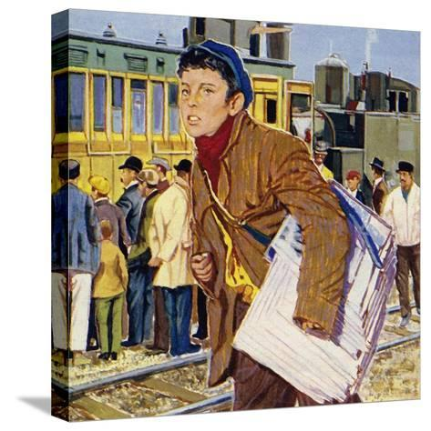 Fred Royce Sold Newspapers at the Age of Nine--Stretched Canvas Print
