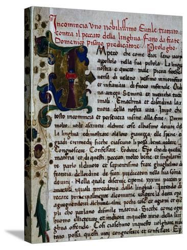 Incipit of the Pungilingua-Domenico Cavalca-Stretched Canvas Print