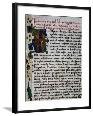 Incipit of the Pungilingua-Domenico Cavalca-Framed Art Print