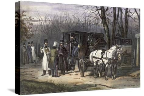 A Group of Men Disembarking from their Carriage--Stretched Canvas Print