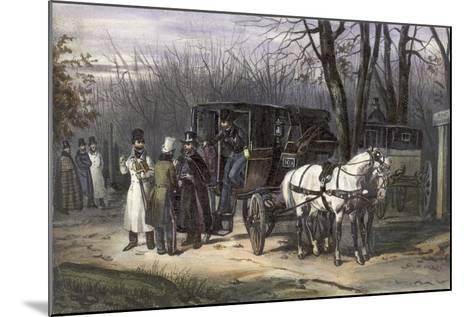 A Group of Men Disembarking from their Carriage--Mounted Giclee Print
