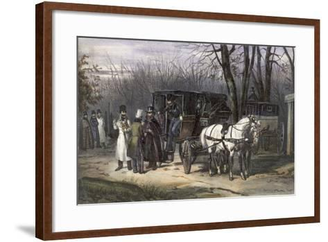 A Group of Men Disembarking from their Carriage--Framed Art Print