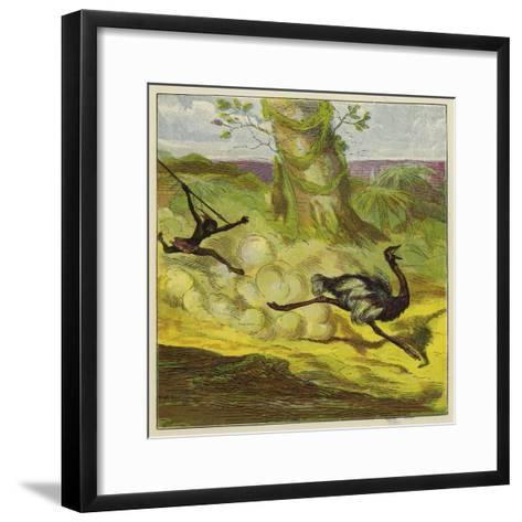 Man Hunting an Ostrich-Ernest Henry Griset-Framed Art Print