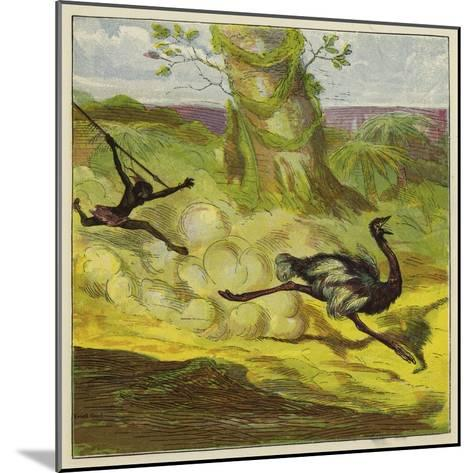 Man Hunting an Ostrich-Ernest Henry Griset-Mounted Giclee Print