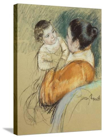 Mother Louise Holding Up Her Blue-Eyed Child-Mary Cassatt-Stretched Canvas Print