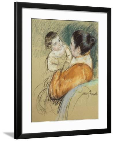 Mother Louise Holding Up Her Blue-Eyed Child-Mary Cassatt-Framed Art Print