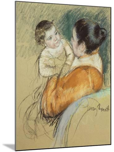 Mother Louise Holding Up Her Blue-Eyed Child-Mary Cassatt-Mounted Giclee Print