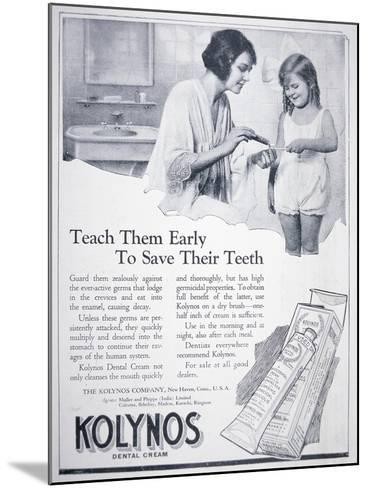 Advert for Kolynos Dental Cream, 1922--Mounted Giclee Print